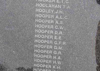 Eric's Name Listed at the POW Memorial, Ballarat.